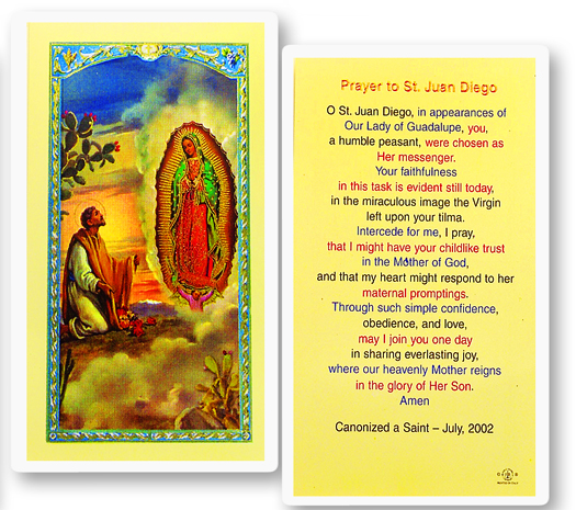 Our Lady of Guadalupe w/ Juan Diego laminated holy card