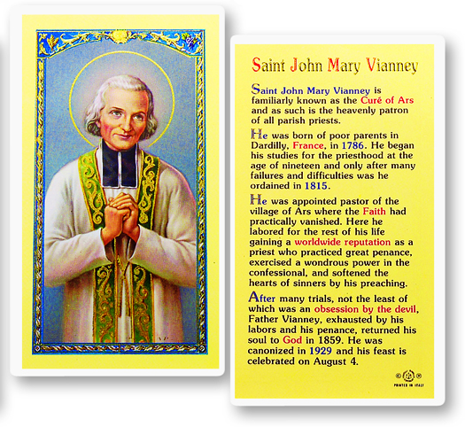 St. John Vianney, laminated holy card