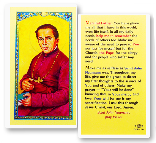 St. John Neumann, laminated holy card