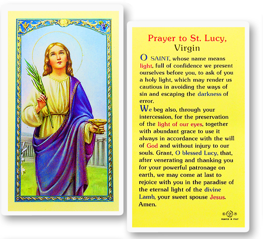 St. Lucy laminated holy card