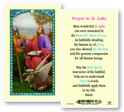 St. Luke laminated holy card