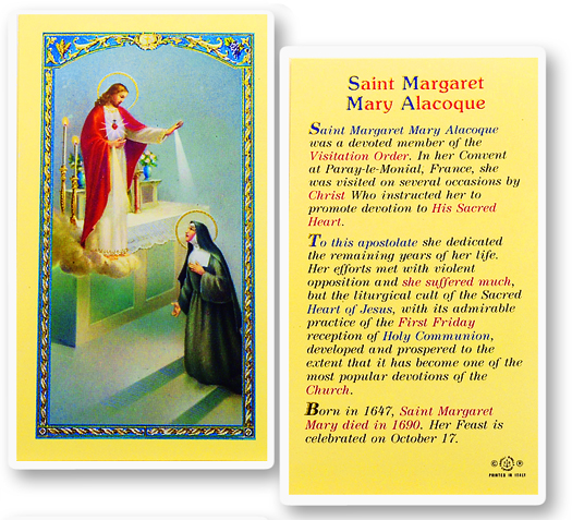 St. Margaret Mary w/ 12 Promises from the Sacred Heart laminated holy card