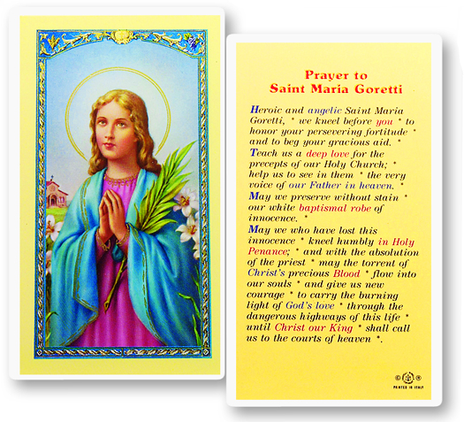 St. Maria Goretti laminated holy card