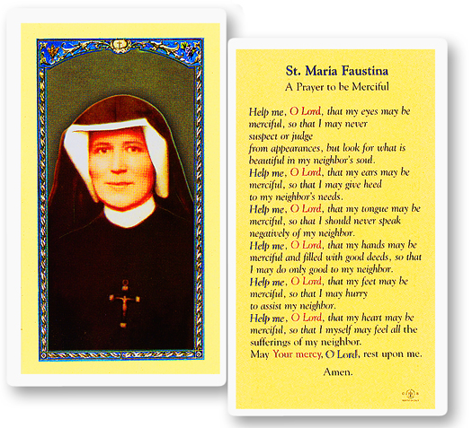 St. Faustina of the Divine Mercy laminated holy card