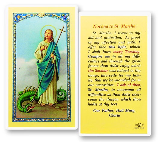 St. Martha laminated holy card