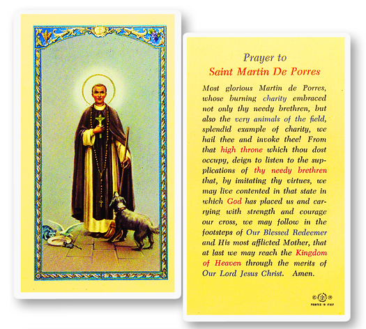 St. Martin de Porres laminated holy card