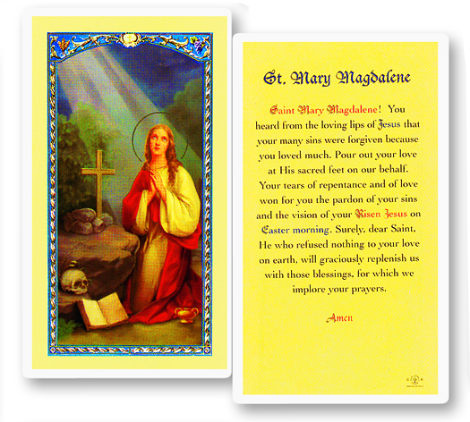 St. Mary Magdeline, laminated holy card