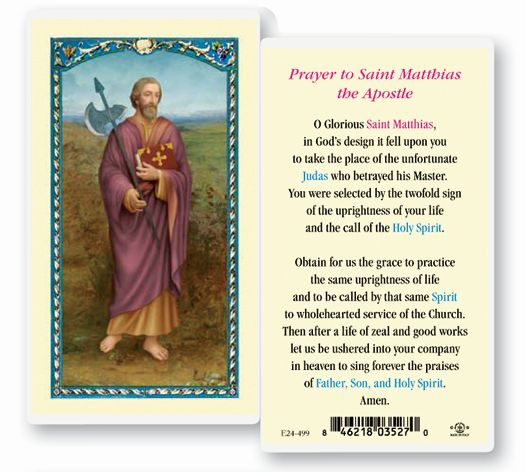 St. Matthias Laminated holy card