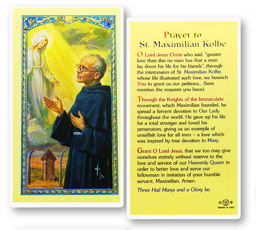 St. Maximillian Kolbe laminated holy card