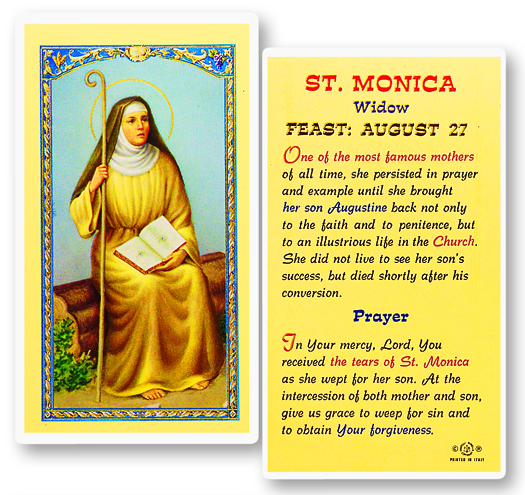 St. Monica laminated holy card