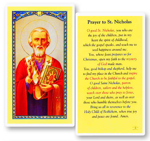 St. Nicholas w/ Prayer for Children laminated holy cardc