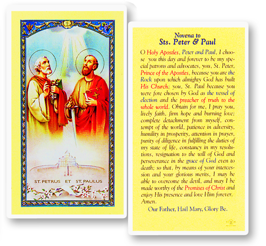 Sts. Peter/Paul laminated holy card
