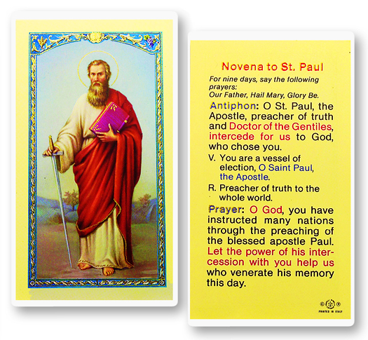 St. Paul Laminated holy card