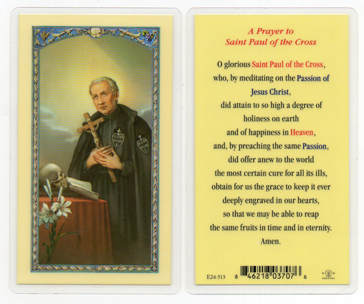 St. Paul of the Cross Laminated Holy Card