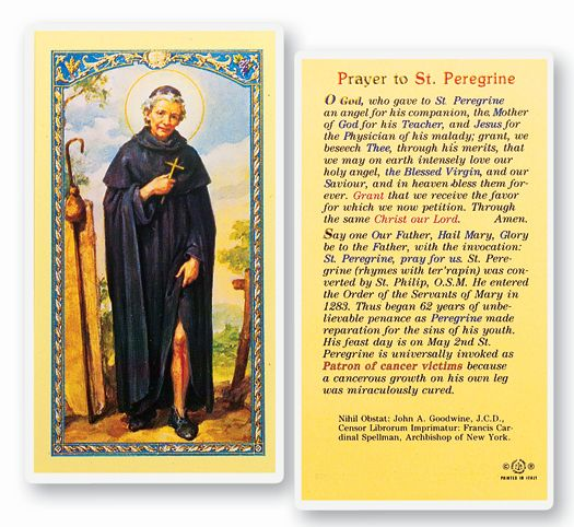 St. Peregrine laminated Holy Card