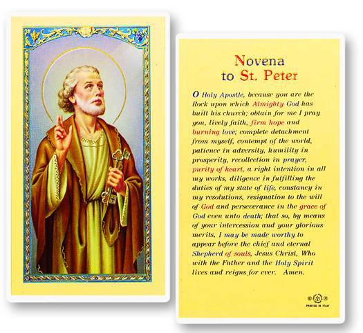 St. Peter the Apostle laminated holy card