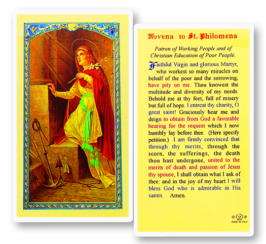 St. Philomena , laminated holy card
