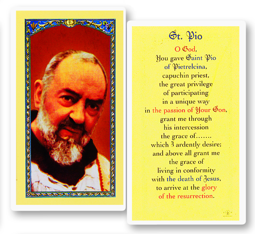 Padre Pio, laminated holy card
