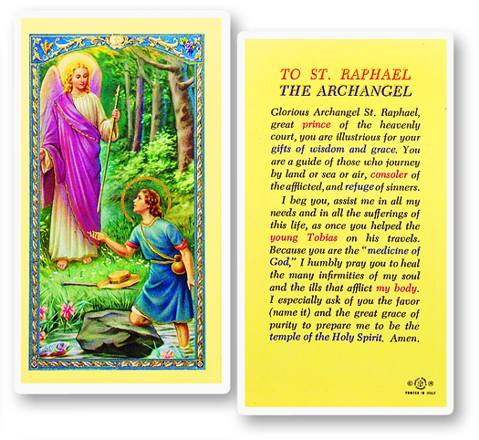 St. Raphael, laminated holy card