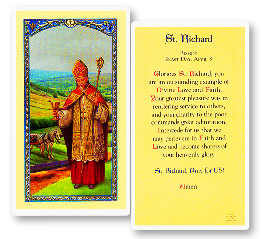 St. Richard laminated holy card
