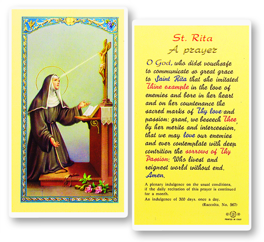 St. Rita, laminated holy card