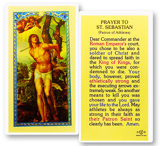 St. Sebastian, laminated holy card