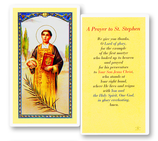 St. Stephen, laminated holy card