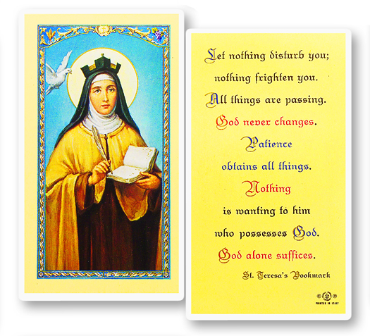 St. Teresa of Avila laminated holy card