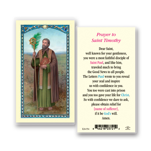 St. Timothy Laminated Holy Card
