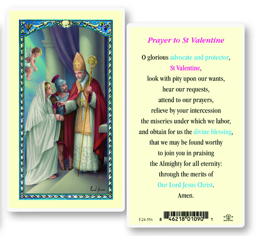 St. Valentine laminated holy card