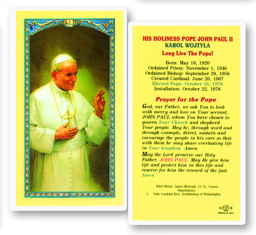 Pope John Paul II, laminated holy card
