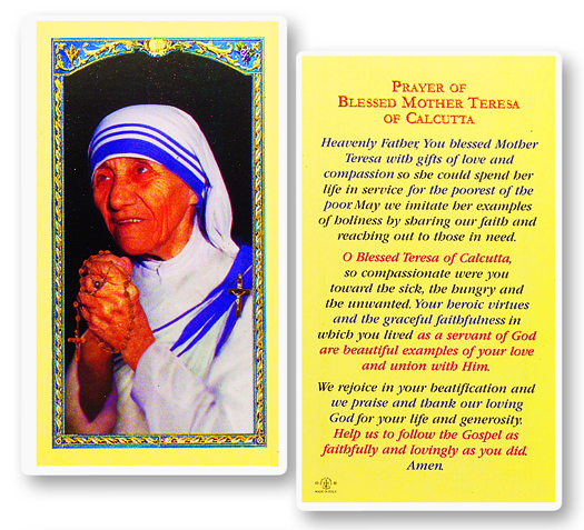 Bl Mother Teresa laminated holy card