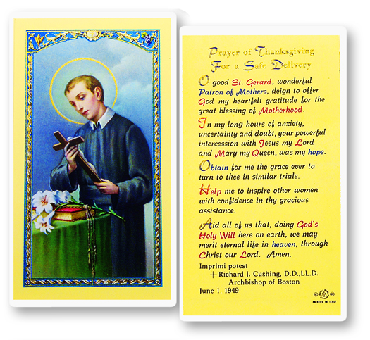 St. Gerard w/ Prayer for Motherhood laminated holy card