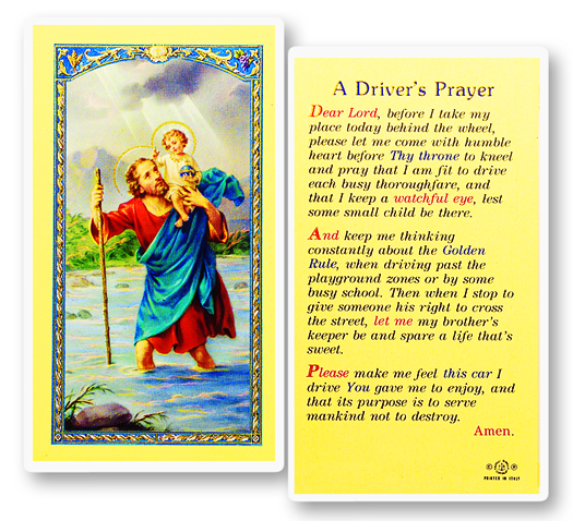 St. Christopher w/ Motorist Prayer laminated holy card