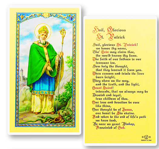 St. Patrick laminated holy card
