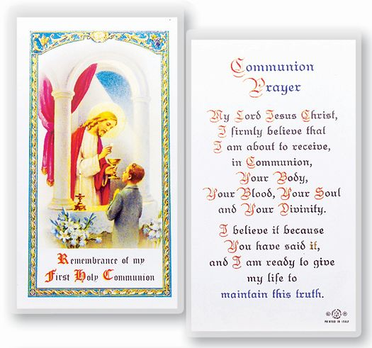 First Communion laminated holy card for boy