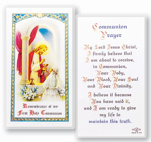 First Communion laminated holy card for girl