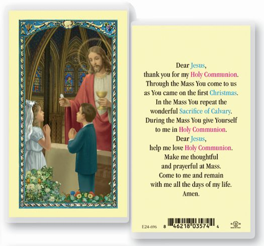 Laminated First Communion Holy Card for boy or girl