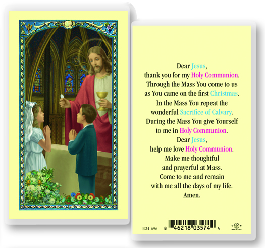 Jesus giving First Communion,girl, laminated holy card