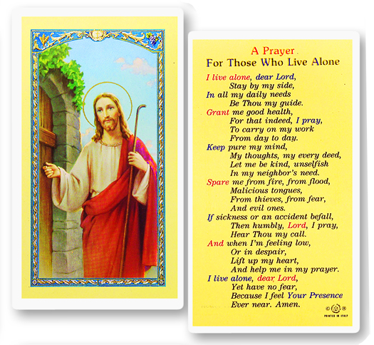 Jesus Knocking with a Prayer for those who live alone laminated holy card