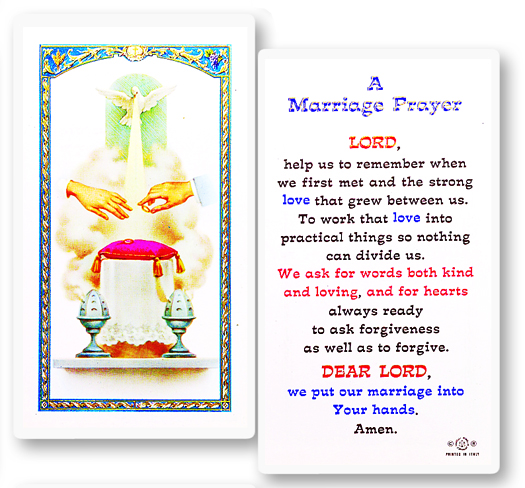 Marriage Prayer Laminated Holy card