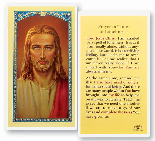 Jesus with Prayer for Loneliness Laminated Holy Card