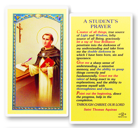 Students Prayer Laminated Holy Card