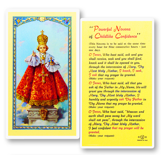 Infant of Prague, laminated holy card