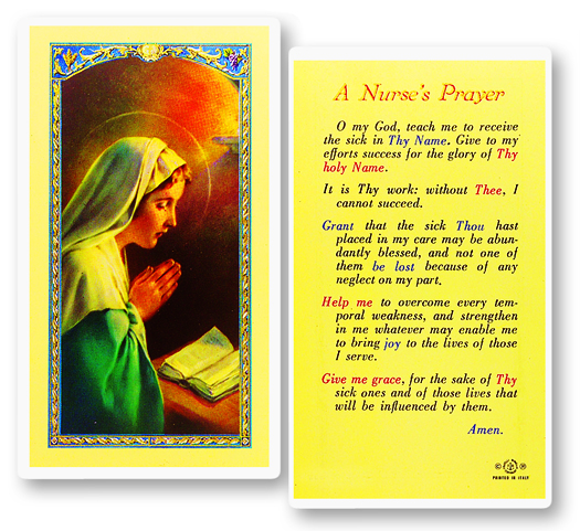 Jesus w/ Nurse's prayer laminated holy card