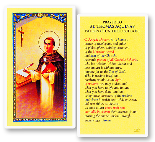 St. Thomas Aquinas laminated holy card