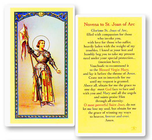 St. Joan of Arc, laminated holy card