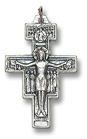 Small San Damiano oxidized medal crucifix