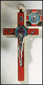 Deluxe Red Enamel St. Benedicts Wall Crucifix