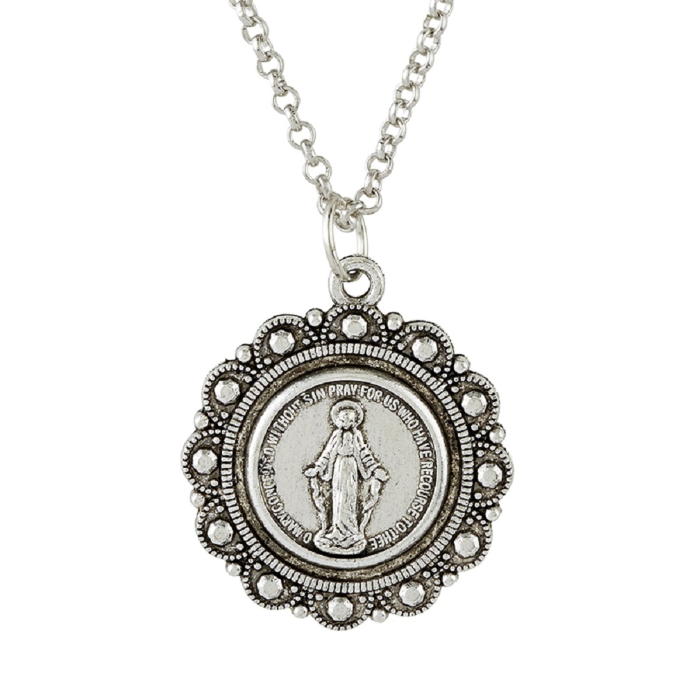 Miraculous Medal Scalloped with Pendant